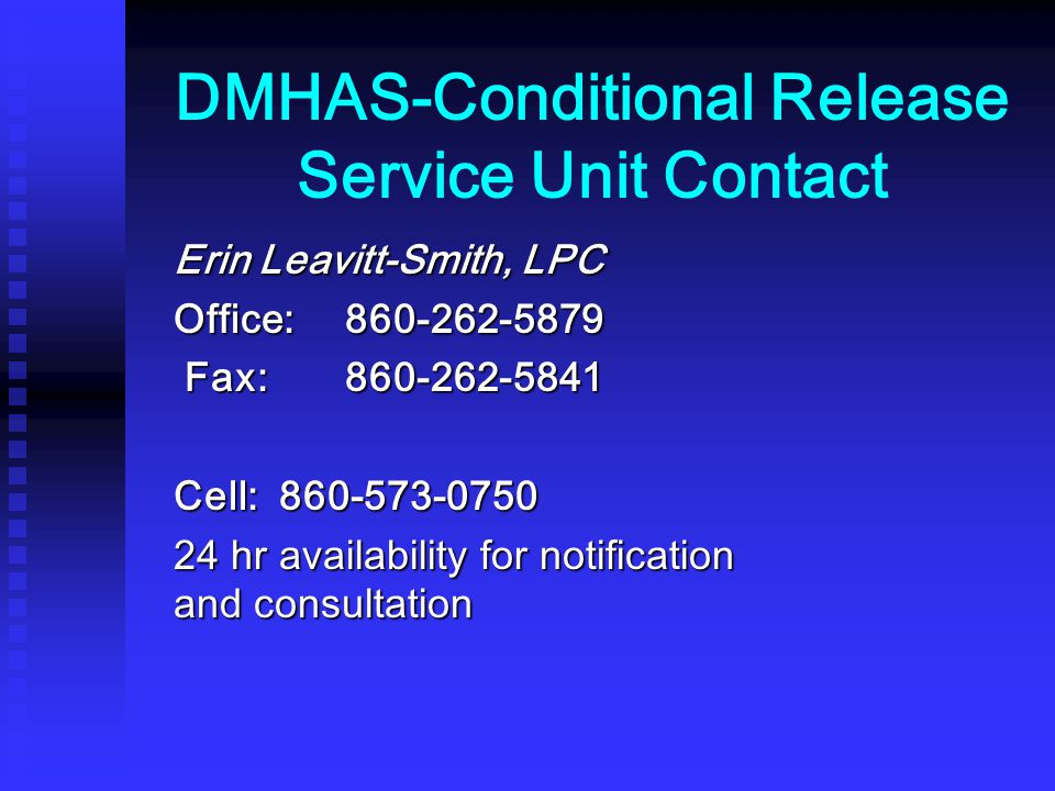 DMHAS-Conditional Release Service Unit Contact