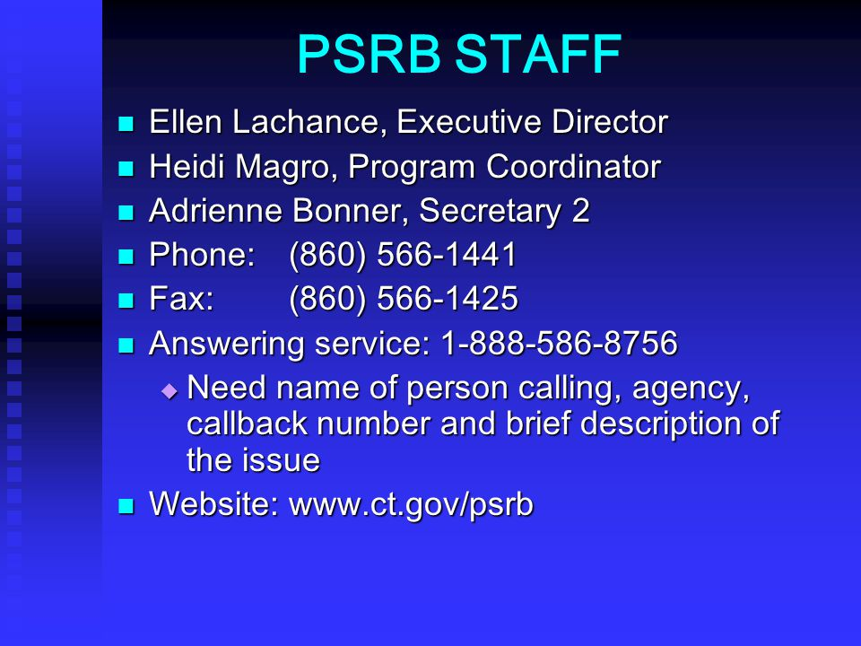 PSRB STAFF Ellen Lachance, Executive Director