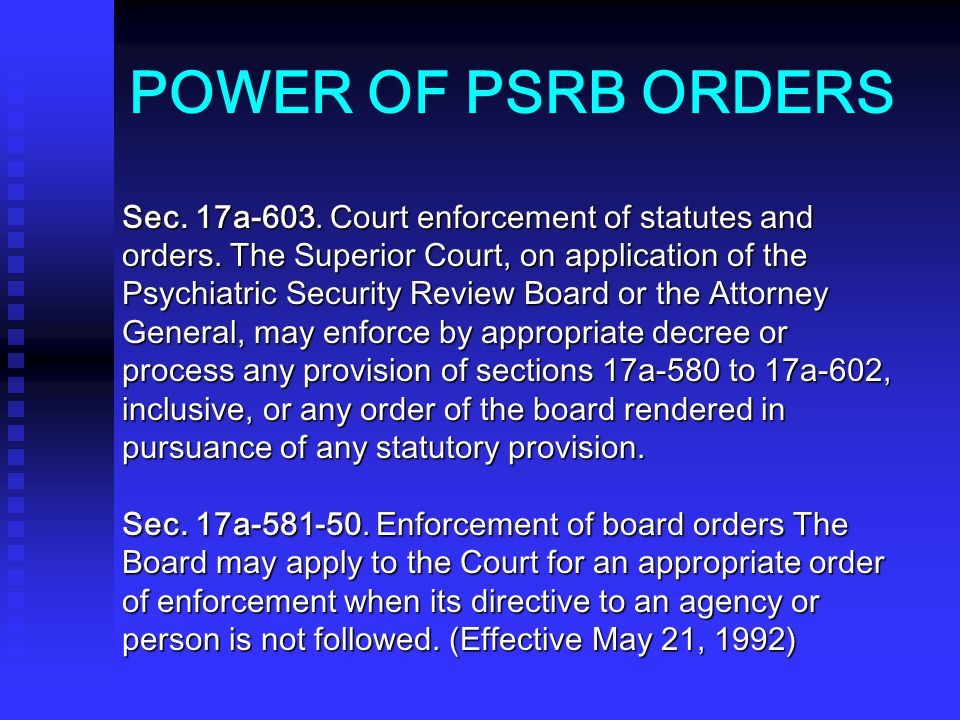 POWER OF PSRB ORDERS