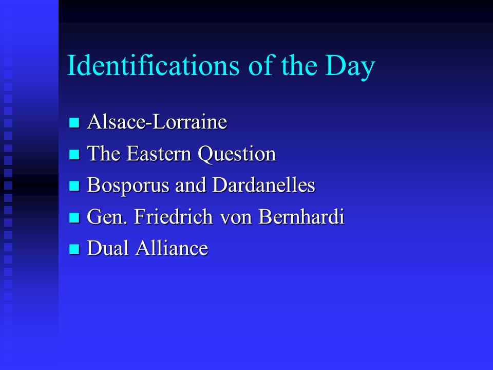 Identifications of the Day