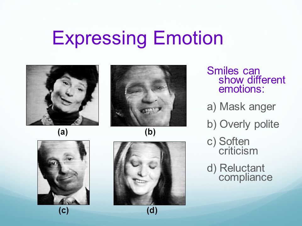Expressing Emotion (a) (b) (c) (d)