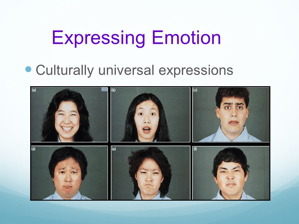 Expressing Emotion Culturally universal expressions