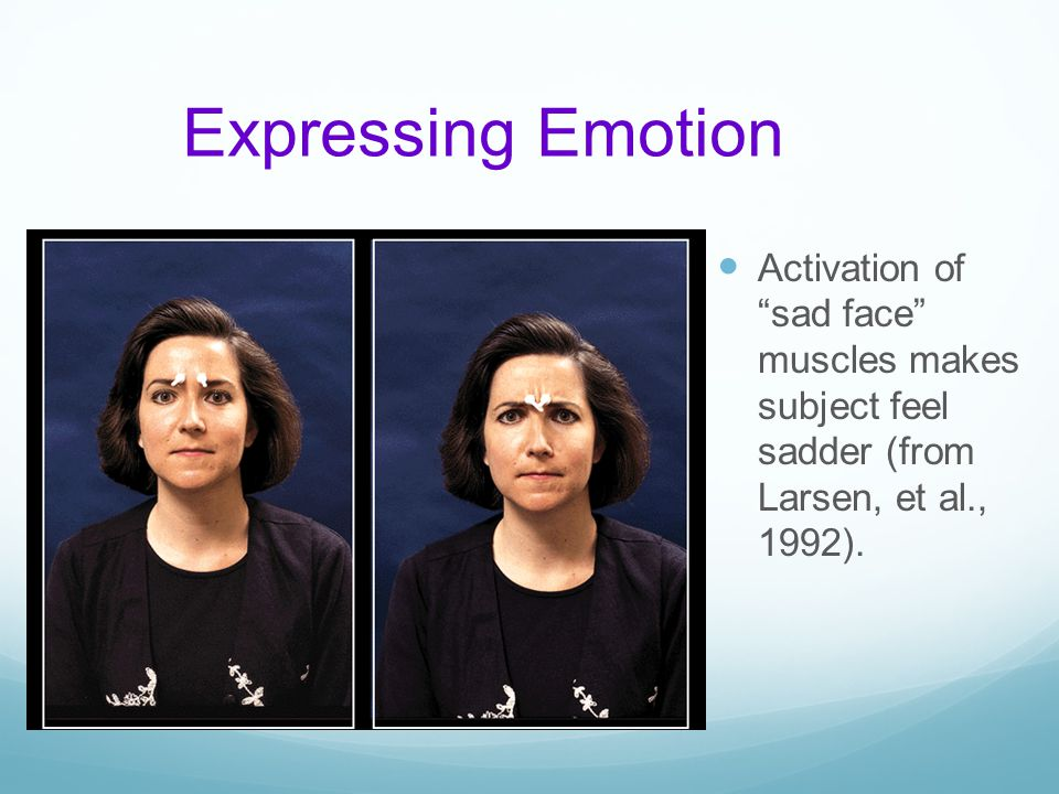 Expressing Emotion Activation of sad face muscles makes subject feel sadder (from Larsen, et al., 1992).