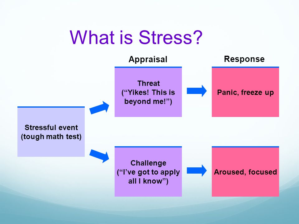 What is Stress Appraisal Response Stressful event (tough math test)