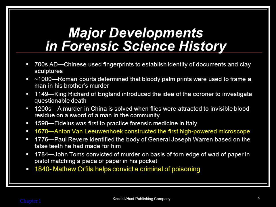 Major Developments in Forensic Science History