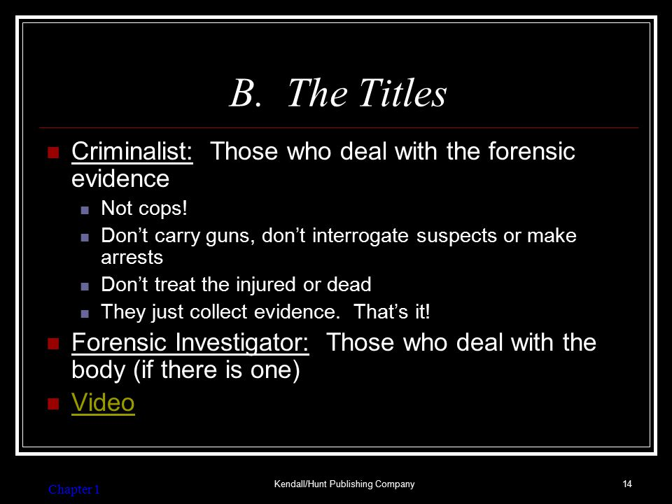 Common Jobs for a Criminalist