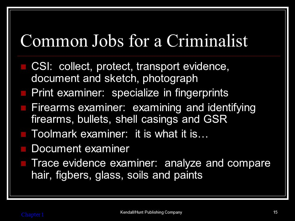 Common Jobs for a Forensic Investigator