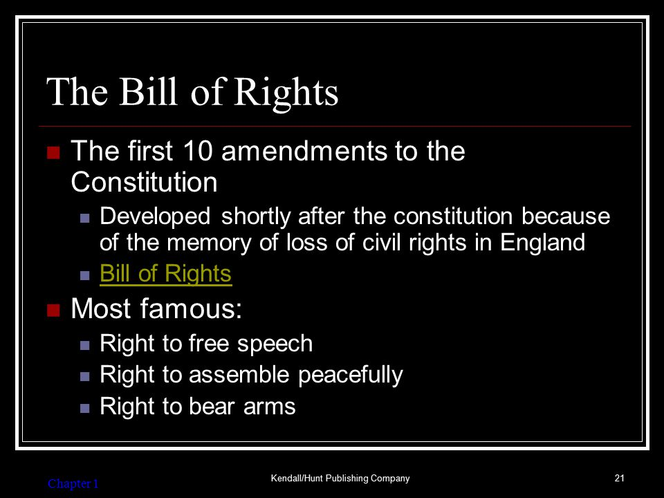 Bill of Rights and FS- Assures an individual's right: