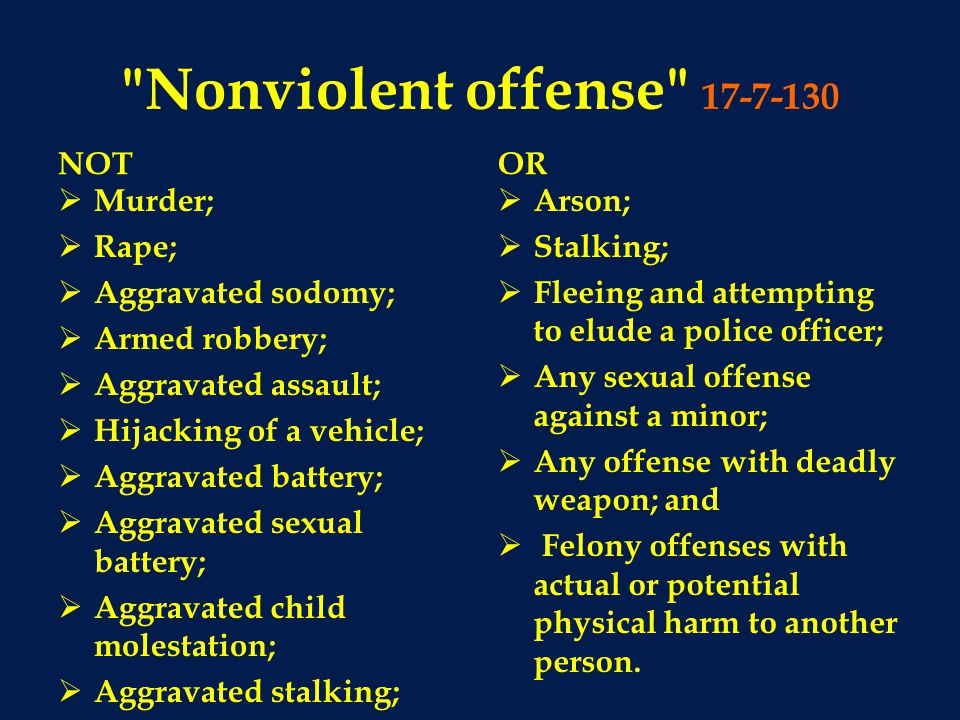 Nonviolent offense 17-7-130 NOT OR Murder; Rape; Aggravated sodomy;