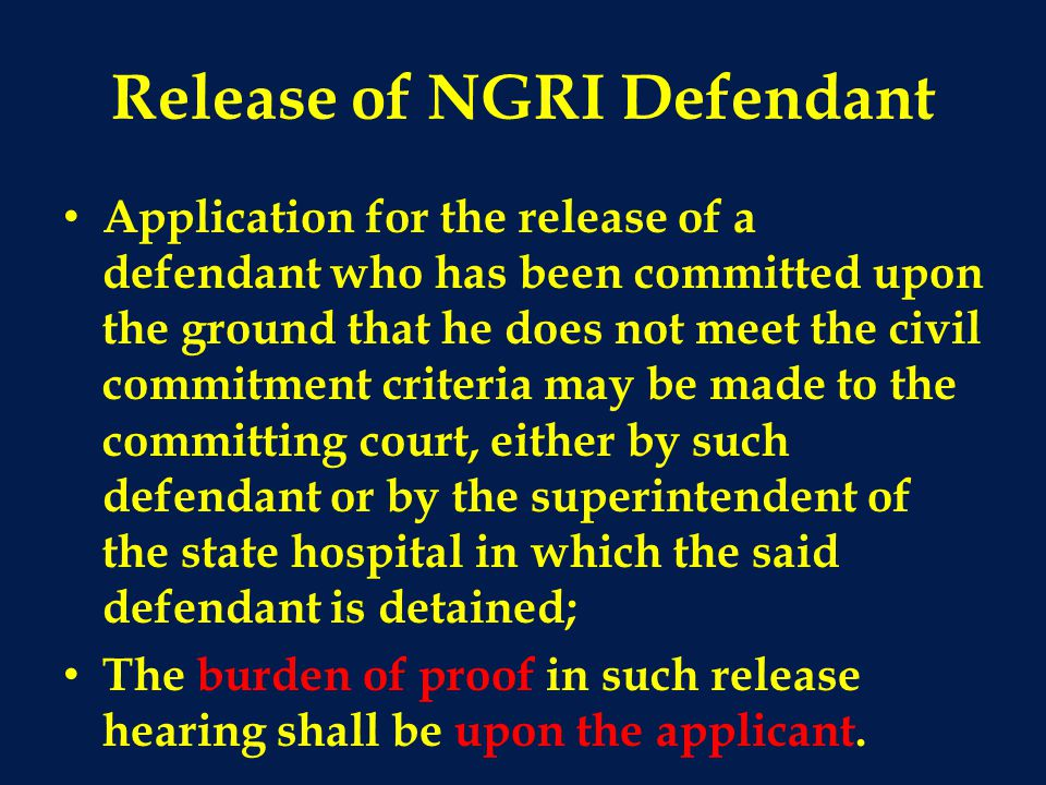 Release of NGRI Defendant