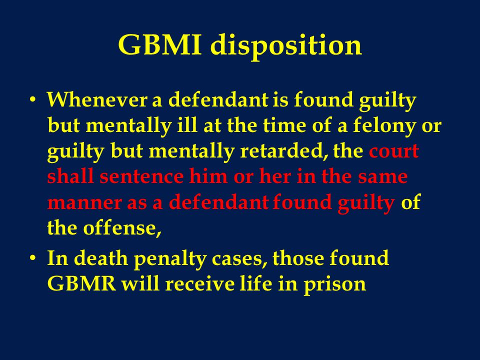 GBMI disposition