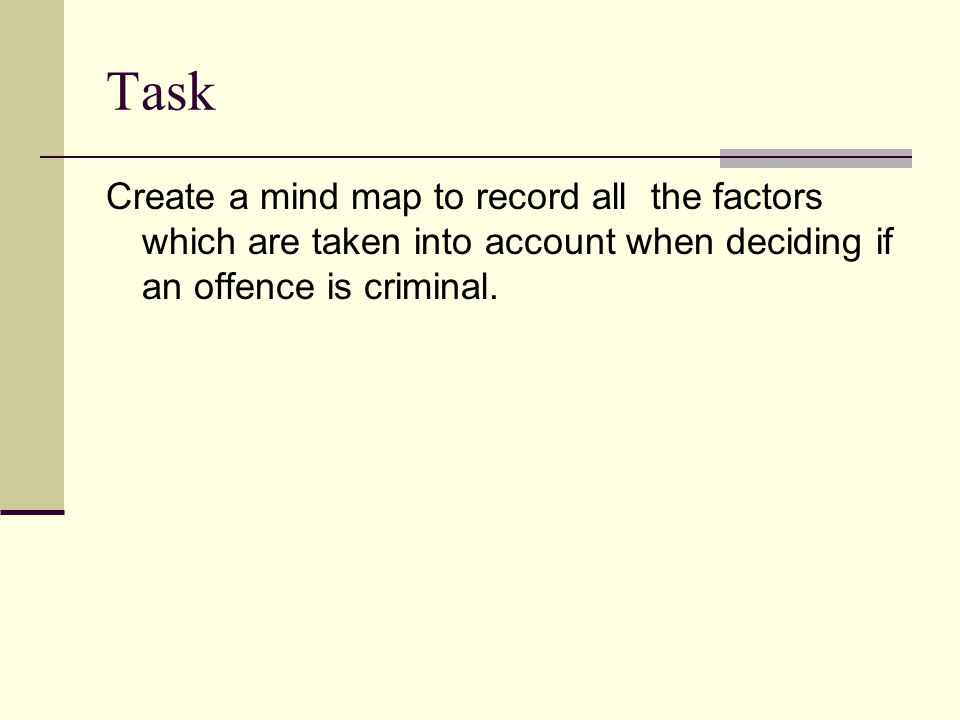Task Create a mind map to record all the factors which are taken into account when deciding if an offence is criminal.