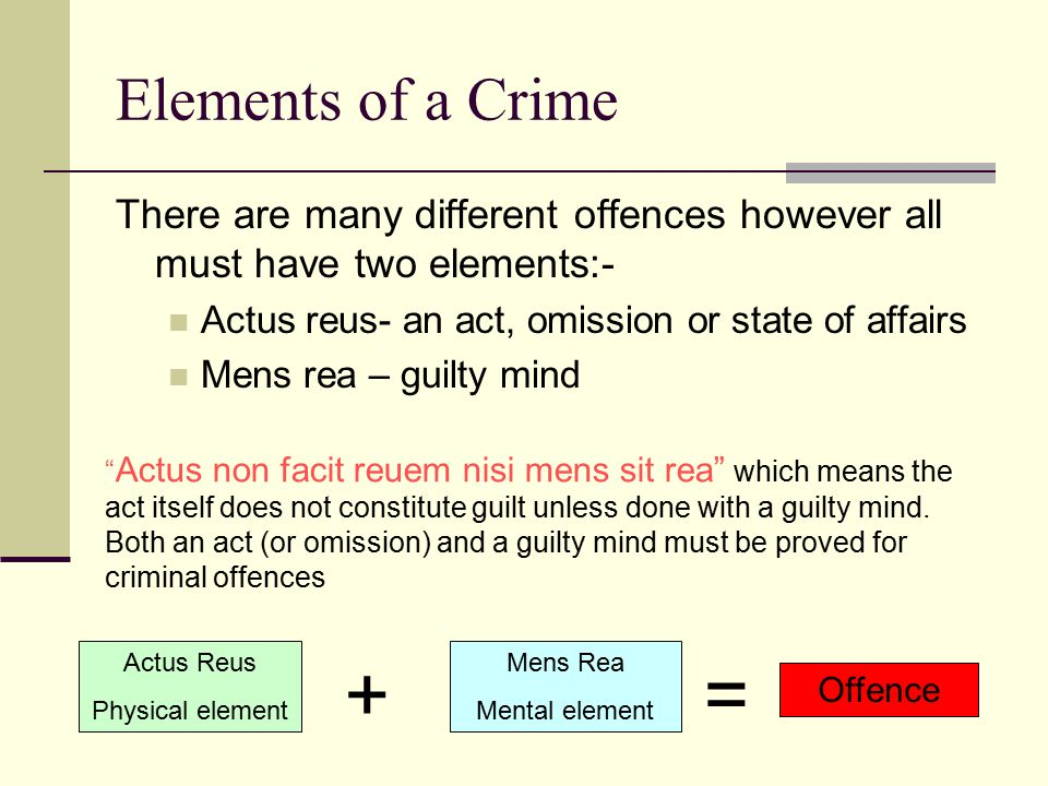 Elements of a Crime There are many different offences however all must have two elements:- Actus reus- an act, omission or state of affairs.