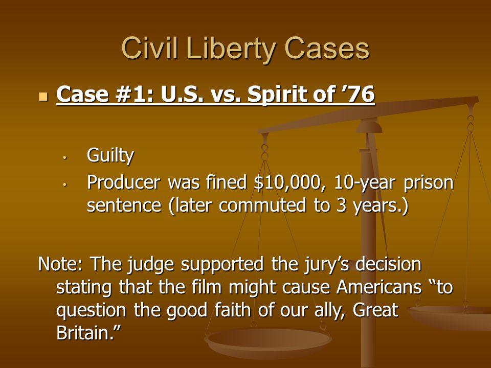 Civil Liberty Cases Case #1: U.S. vs. Spirit of '76 Guilty