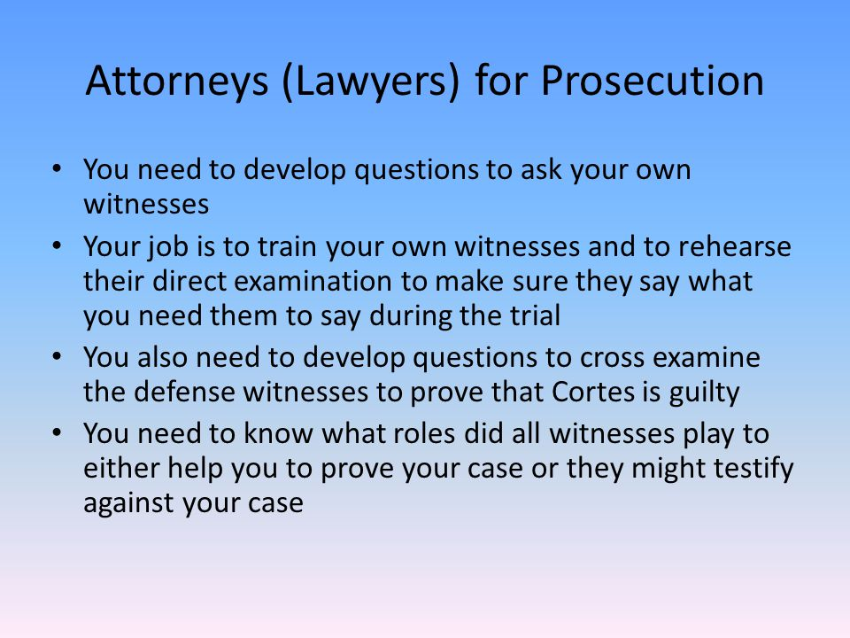 Attorneys (Lawyers) for Prosecution