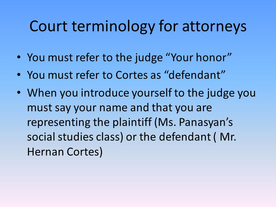 Court terminology for attorneys