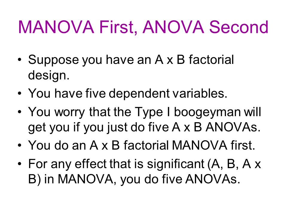MANOVA First, ANOVA Second