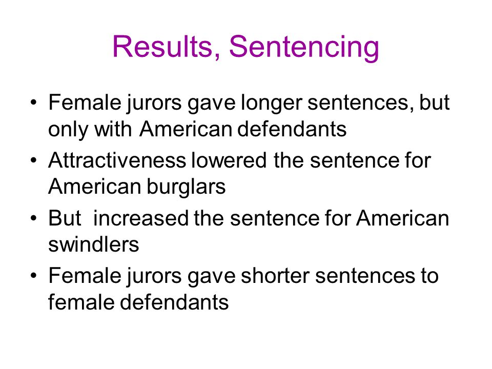 Results, Sentencing Female jurors gave longer sentences, but only with American defendants.
