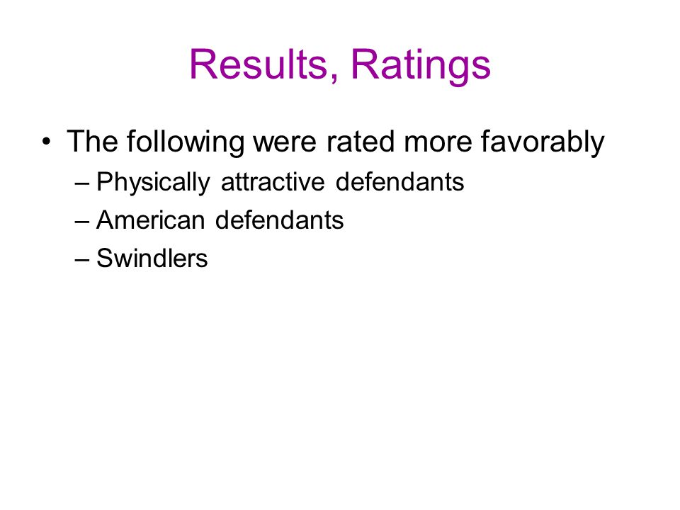 Results, Ratings The following were rated more favorably