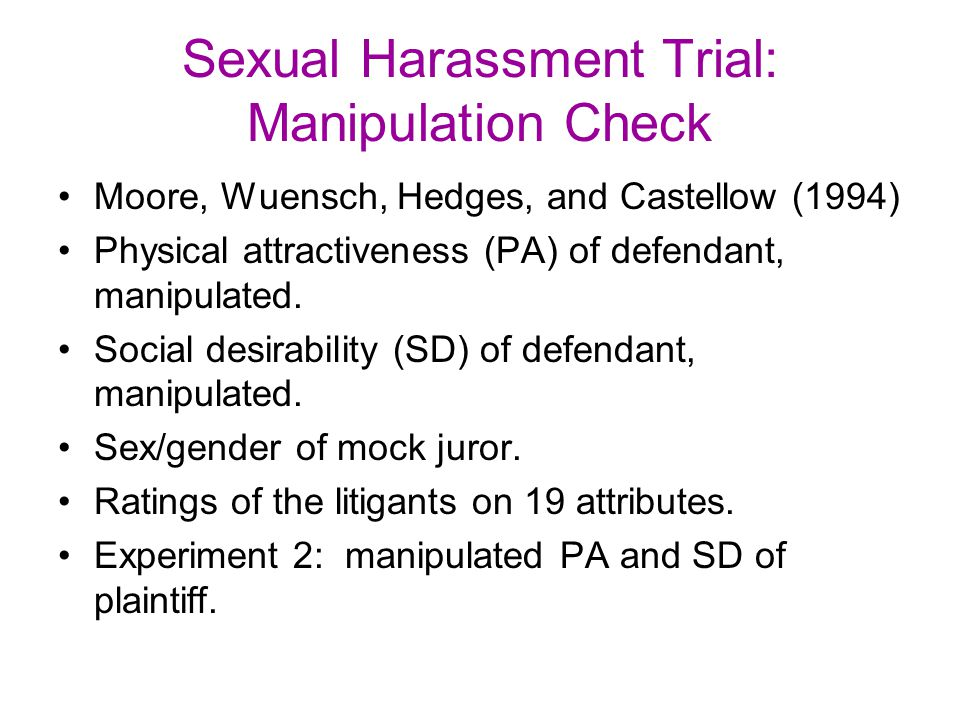 Sexual Harassment Trial: Manipulation Check