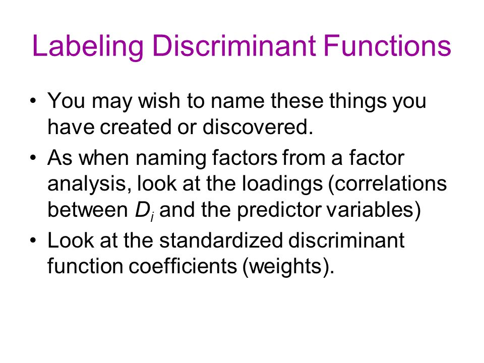 Labeling Discriminant Functions