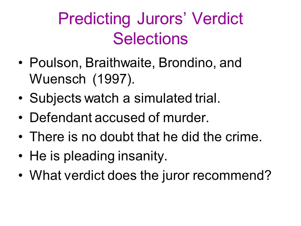 Predicting Jurors' Verdict Selections