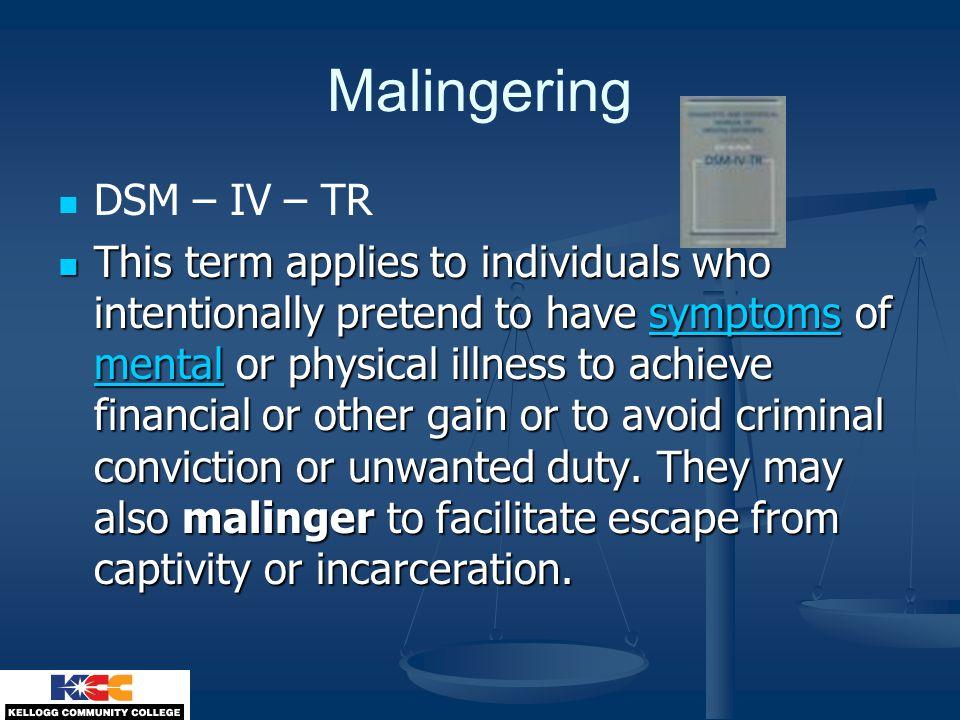 Malingering DSM – IV – TR