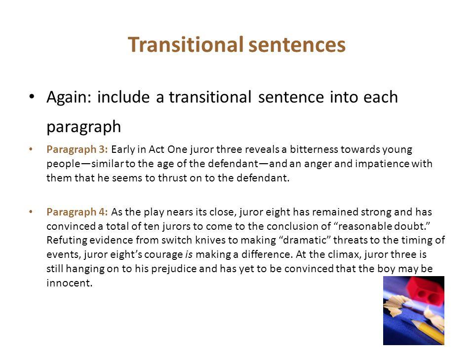 Transitional sentences