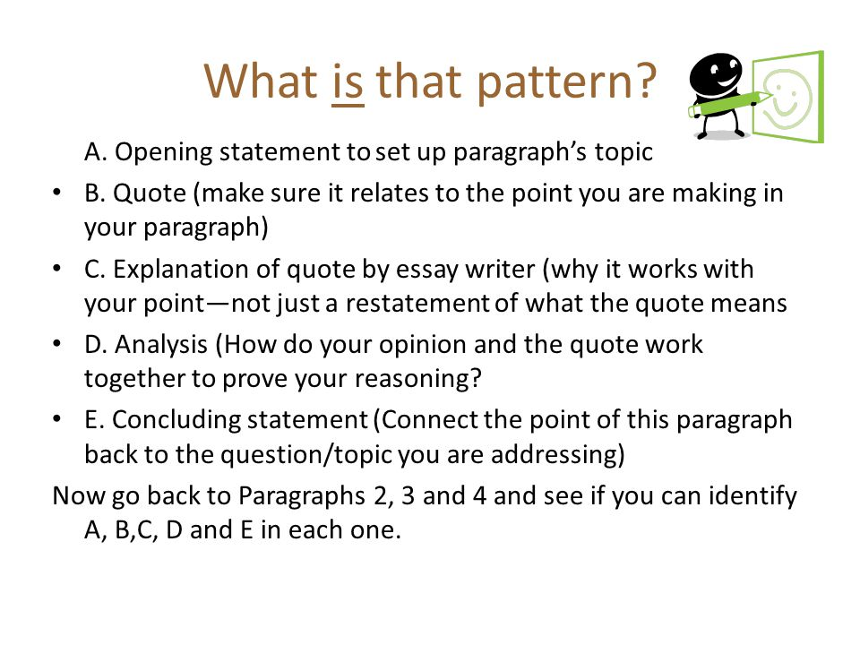 What is that pattern A. Opening statement to set up paragraph's topic