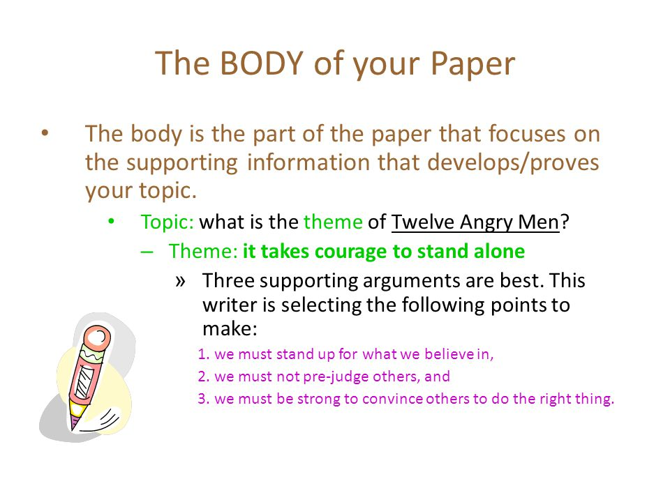 The BODY of your Paper The body is the part of the paper that focuses on the supporting information that develops/proves your topic.