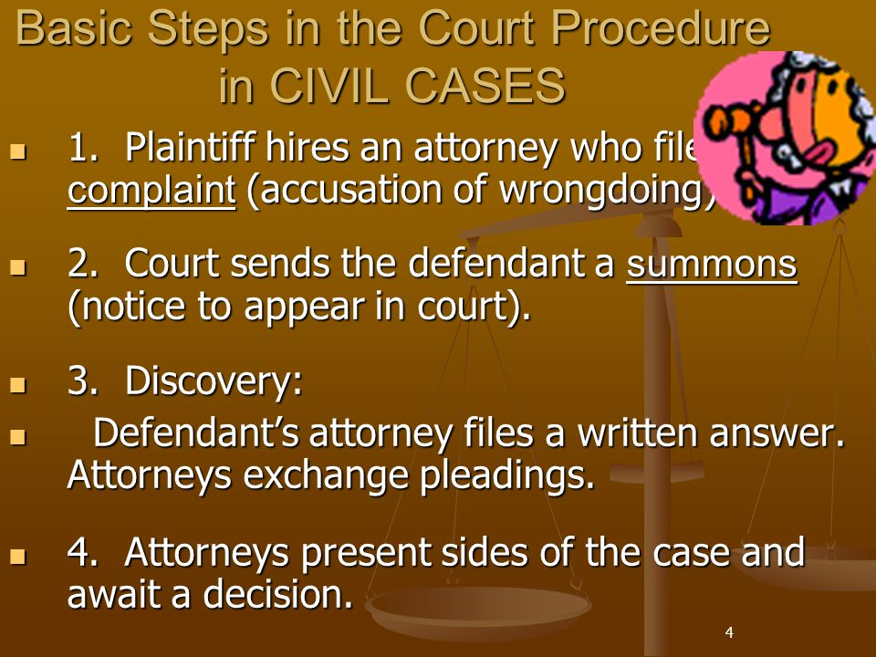 Basic Steps in the Court Procedure in CIVIL CASES