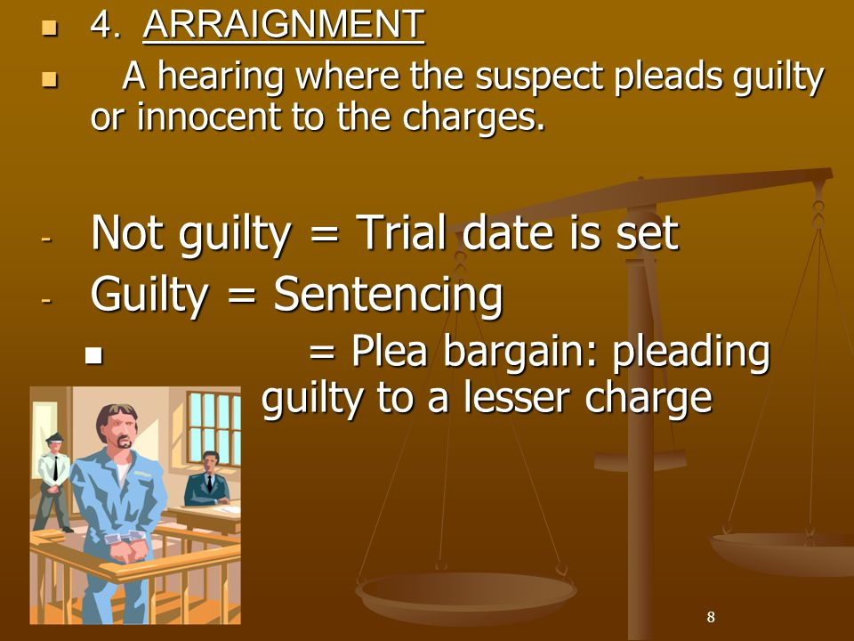 Not guilty = Trial date is set Guilty = Sentencing