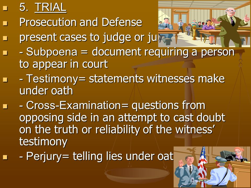Prosecution and Defense present cases to judge or jury