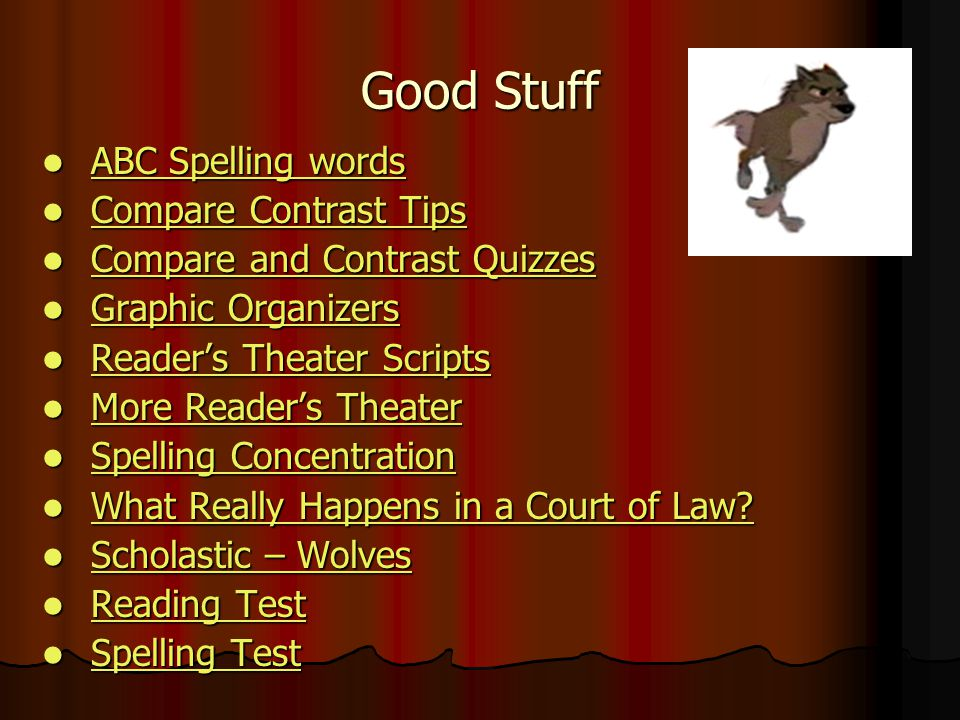 Good Stuff ABC Spelling words Compare Contrast Tips