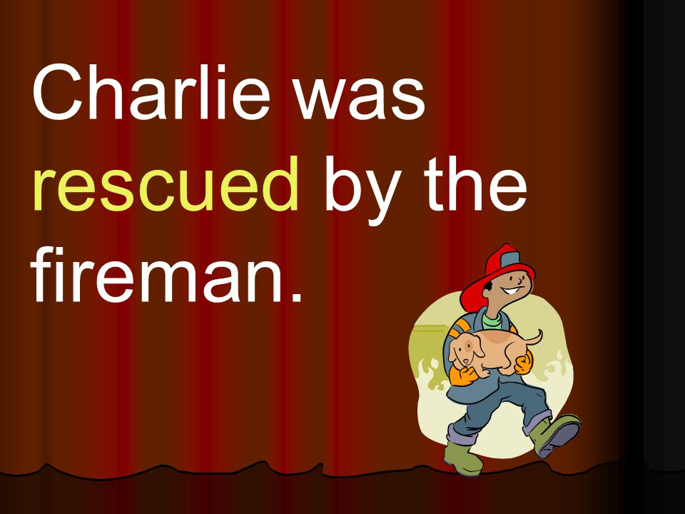 Charlie was rescued by the fireman.
