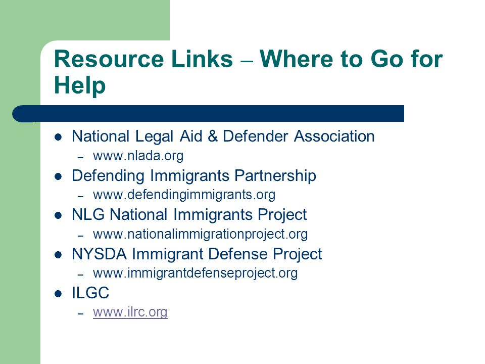 Resource Links – Where to Go for Help
