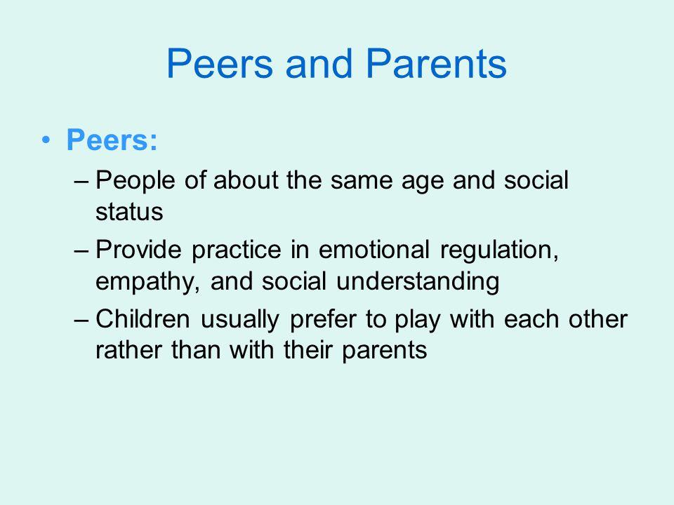 Peers and Parents Peers: