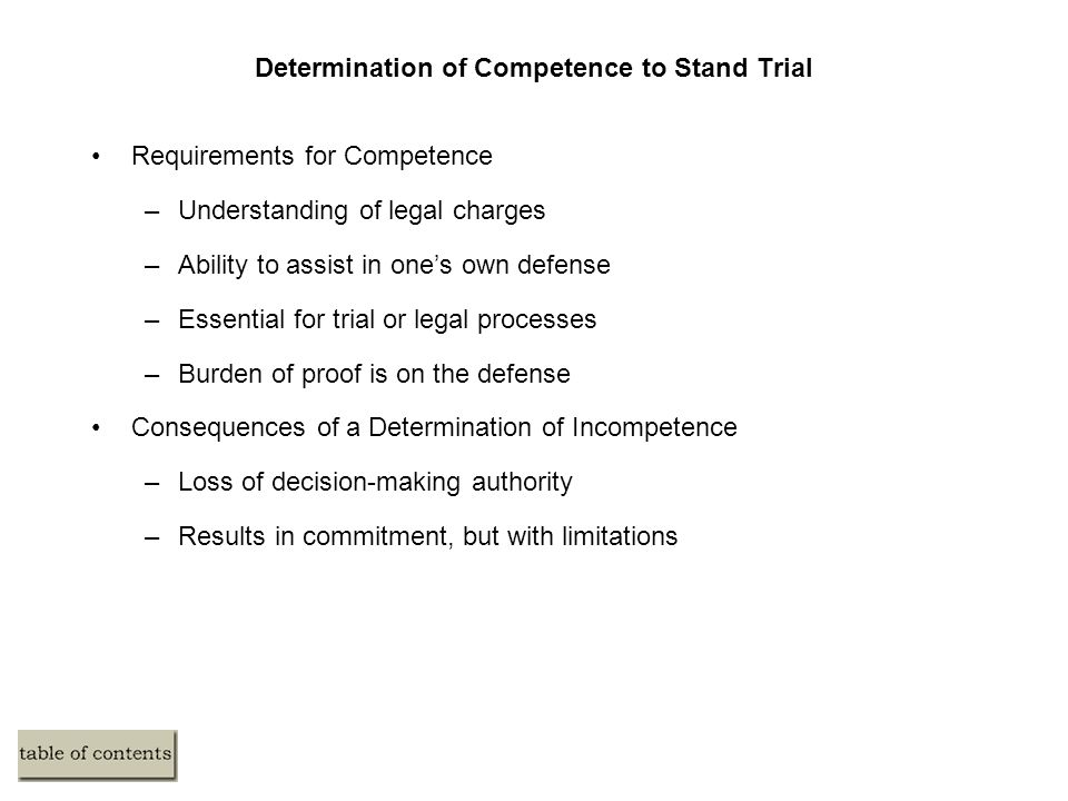 Determination of Competence to Stand Trial