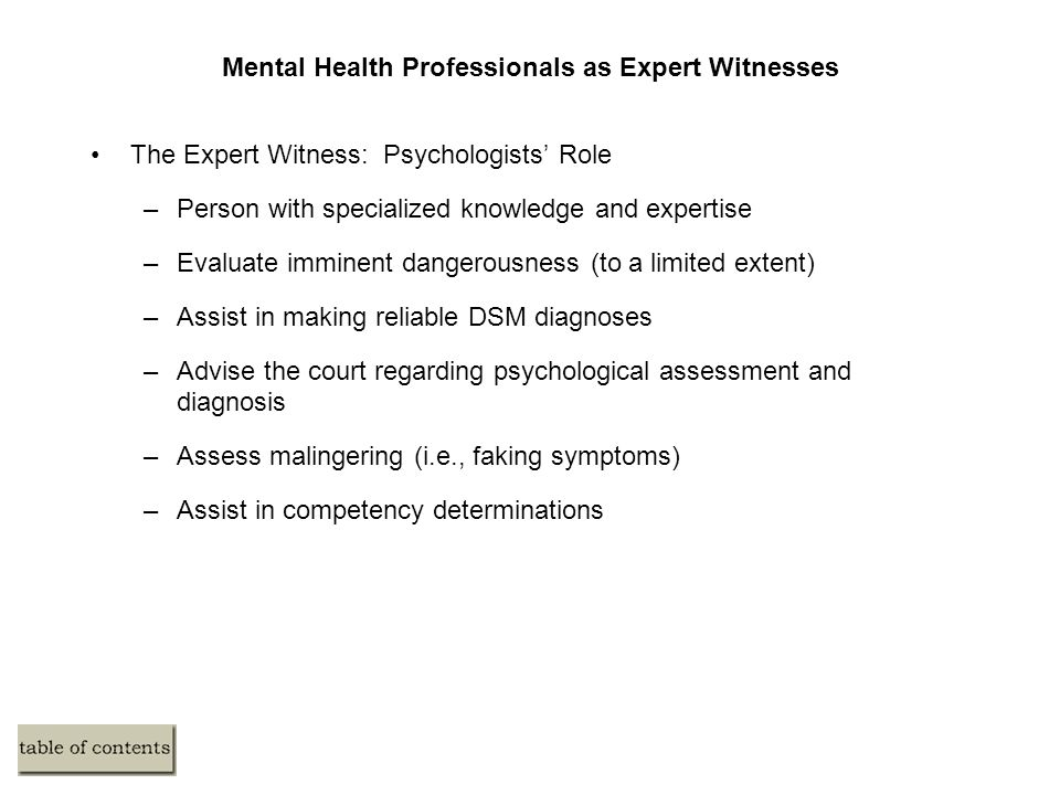 Mental Health Professionals as Expert Witnesses