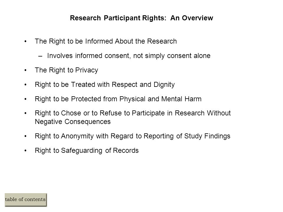 Research Participant Rights: An Overview