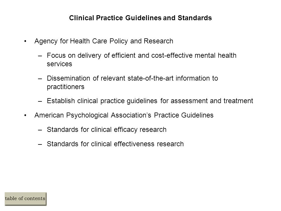 Clinical Practice Guidelines and Standards