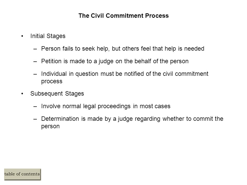The Civil Commitment Process