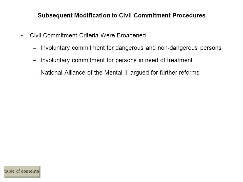 Subsequent Modification to Civil Commitment Procedures