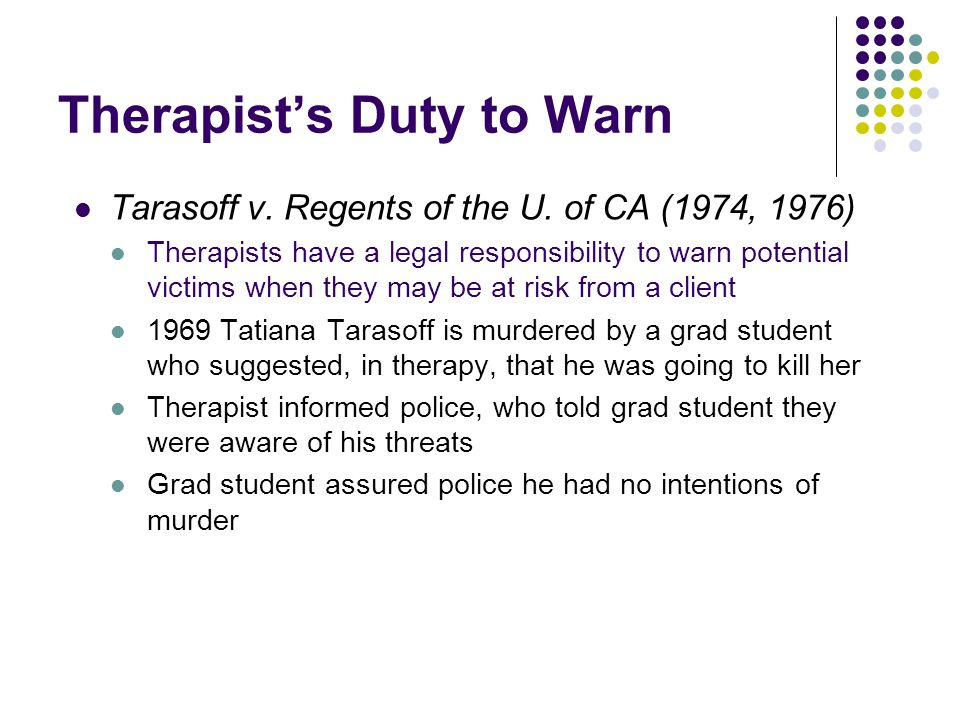 Therapist's Duty to Warn