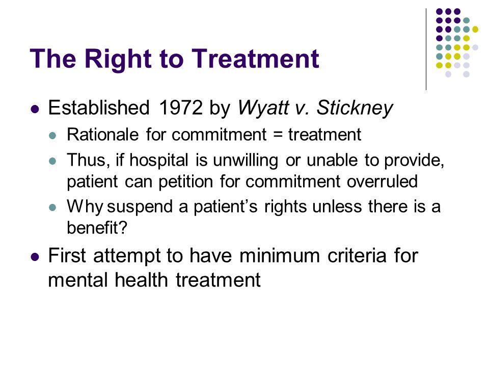 The Right to Treatment Established 1972 by Wyatt v. Stickney