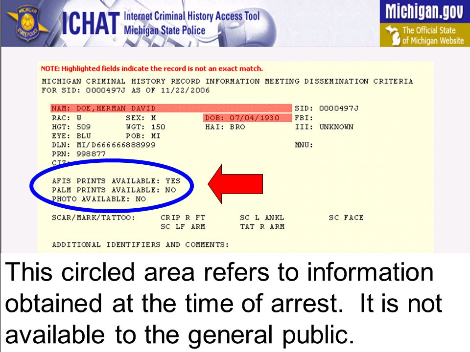 This circled area refers to information obtained at the time of arrest