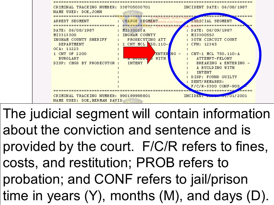 The judicial segment will contain information about the conviction and sentence and is provided by the court.