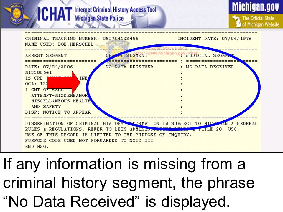 If any information is missing from a criminal history segment, the phrase No Data Received is displayed.
