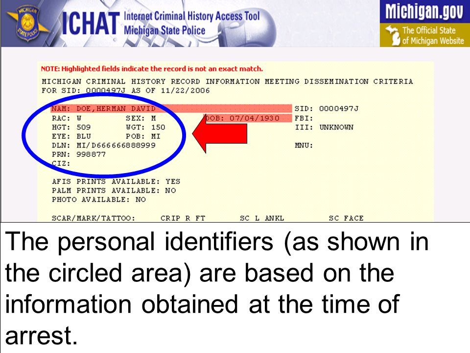 The personal identifiers (as shown in the circled area) are based on the information obtained at the time of arrest.