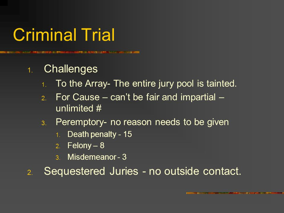 Criminal Trial Challenges Sequestered Juries - no outside contact.